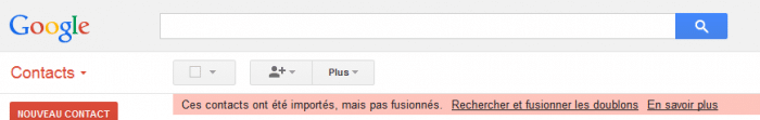 Fusion des contacts dans Google Contacts