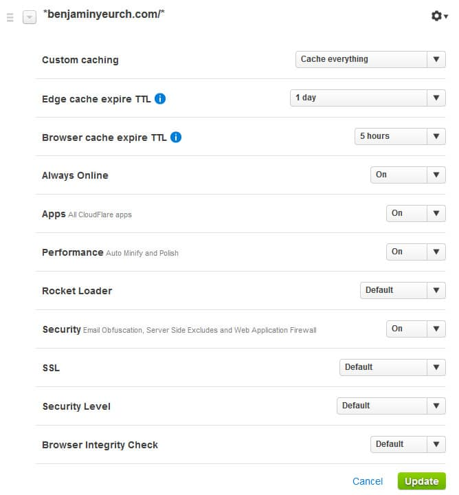 Page Rules CloudFlare pour mettre en cache le HTML sur WordPress
