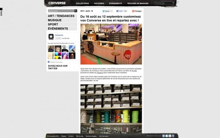 Article du Converse Blog sur une opération de customisation au Citadium