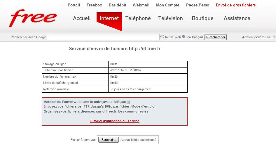 Envoi fichier via dl.free.fr