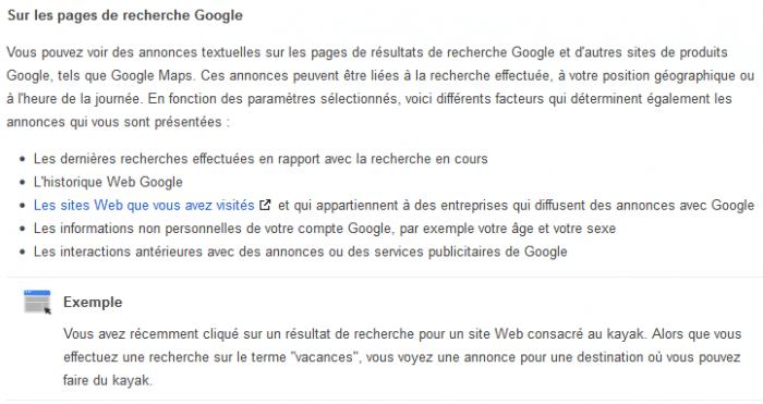 Facteurs exploités pour les annonces Google
