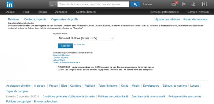 Fichier d'export LinkedIn