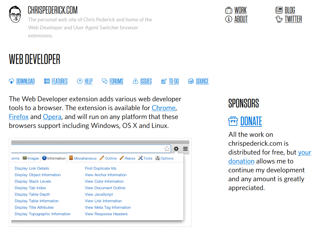 Web Developer Toolbar de Chris Pederick
