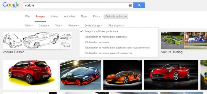 Droits d'usage sur Google Images
