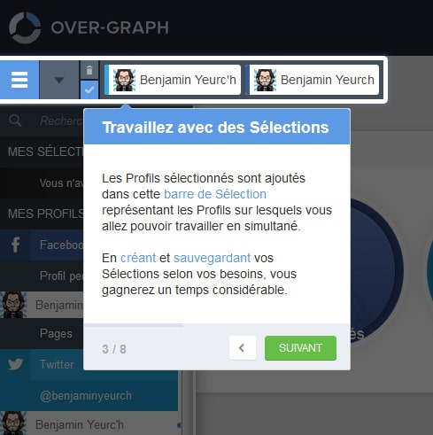 Interface de sélection de réseau social sur Over-Graph