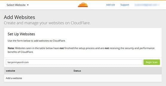 Ajouter un site à CloudFlare