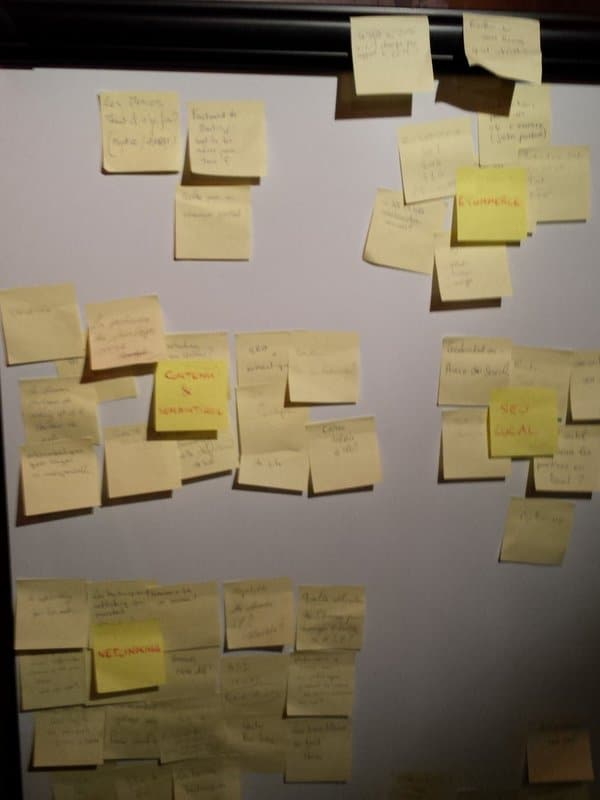 Questions sur post-it au BarCamp SEO de Rennes