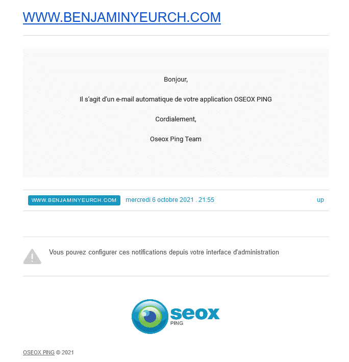 Alerte email d'Oseox Ping